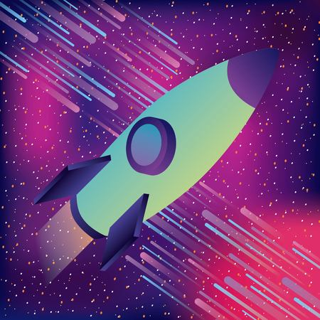 space rocket asteoids starry virtual reality vector illustration