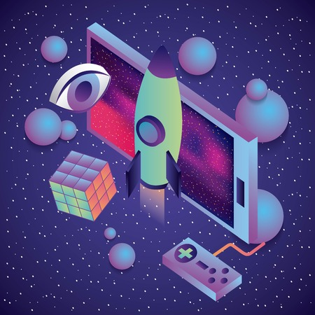 smartphone game control rocket cube eye 3d virtual reality vector illustration