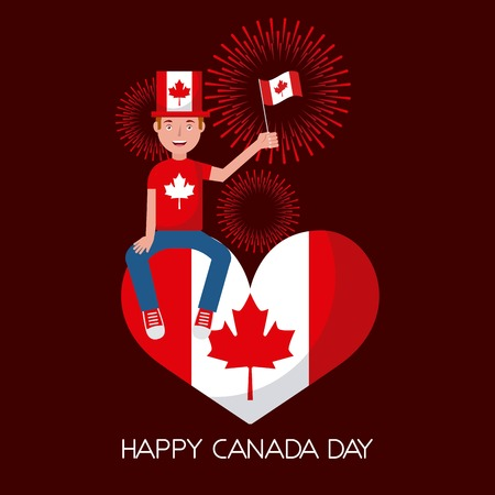 canada day man sitting holding flag in heart red fireworks vector illustration Ilustrace