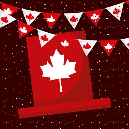 canada day red flag pennants traditional hat dotted background vector illustration Illustration