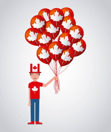 canada day man with hat holding many balloons red leave maple vector illustration