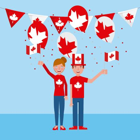 canada day woman and man holding balloons flag leave maple pennants vector illustration