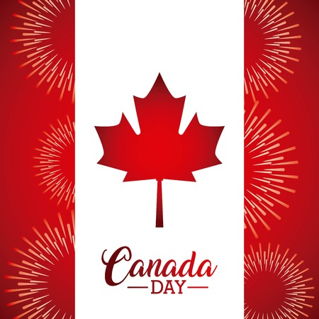 canada day leave maple flag fireworks celebration vector illustration