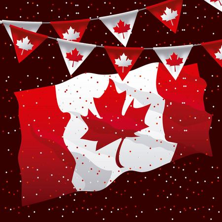 canada day colors dotted background big flag celebrate leave maple pennants vector illustration