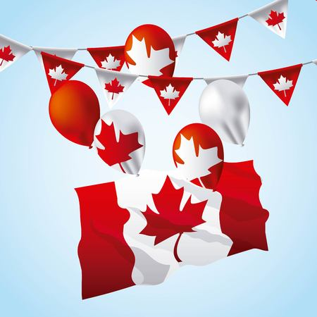 canada day degrade background wave flag balloons leave maple pennants vector illustration Ilustrace