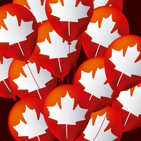 canada day many balloons leave maple flag background important date vector illustration Ilustracja