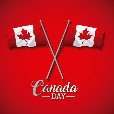 canada day two crossed flags celebrate date vector illustration