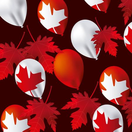 canada day leave maple with many balloons background vector illustration Illusztráció