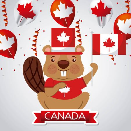 canada day beaver traditional hat holding flag serpentines red balloons vector illustration