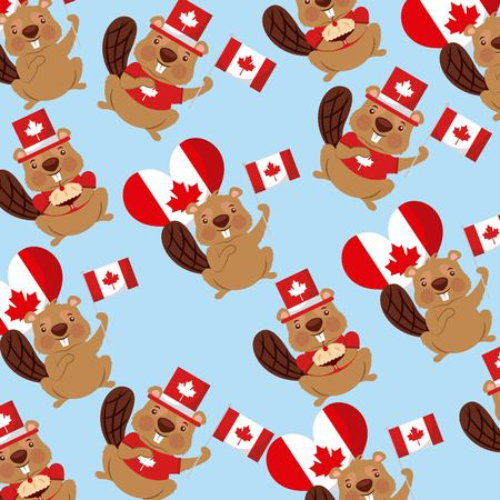 canada day beavers balloons flags background vector illustration