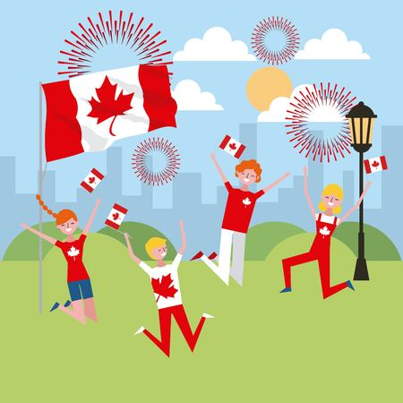 canada day people celebrate holding flags happy date clouds sunny day fireworks