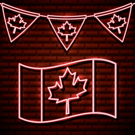 canada day neon wave flag leave maple pennants vector illustration Ilustrace