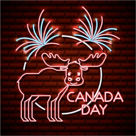 canada day neon sticker cute moose fireworks celebrate sign vector illustration