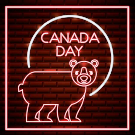 canada day neon red sign sticker with bear vector illustration Illustration