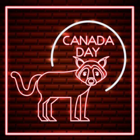 canada day neon cute wolf animal sticker vector illustration