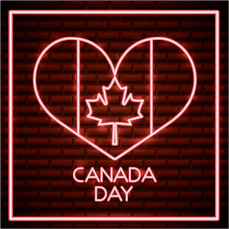 canada day neon heart with flag leave maple vector illustration