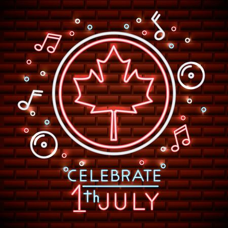 canada day neon icons music bubbles stars sticker leave maple july celebrate vector illustration