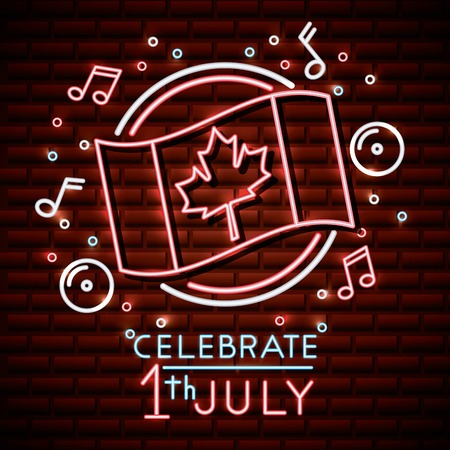 canada day neon sticker wave flag music bubbles stars celebrate july icons vector illustration Illustration