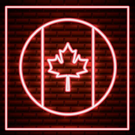 canada day neon frame red leave maple sticker vector illustration Illustration