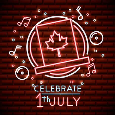 canada day neon sticker traditional hat icons music bubbles stars celebration vector illustration Ilustrace