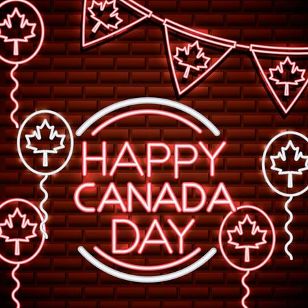 canada day neon leave maples pennant balloons serpentine happy date vector illustration Çizim