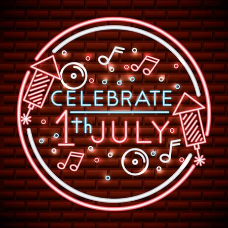 canada day neon sticker with sign july celebrate rockets music stars bubbles vector illustration