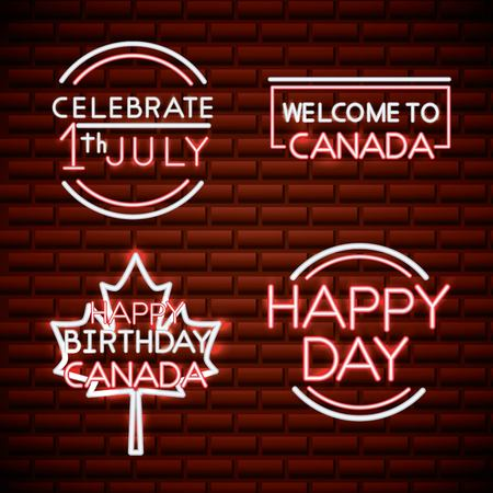 canada day neon stickers welcome celebrate july happy birthday date vector illustration Stock Illustratie