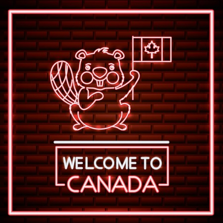 canada day neon frame cute beaver above sign welcome holding flag vector illustration