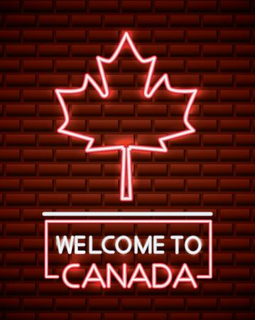 canada day neon leave maple above sign welcome celebration vector illustration Ilustracja