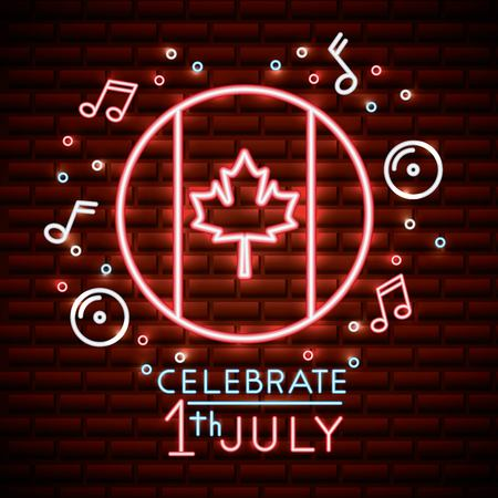 canada day neon sticker leave maple icons bubbles music celebrate july date vector illustration