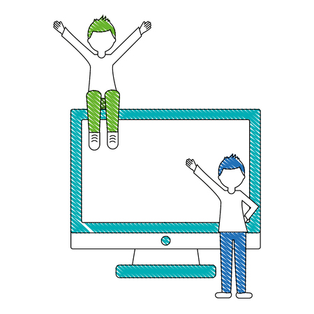 monitor computer with young men isolated icon vector illustration design