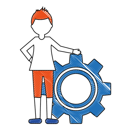 young man with gear avatar character vector illustration design Foto de archivo - 103486262
