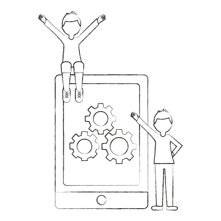 tablet device with men and gears machine isolated icon vector illustration design