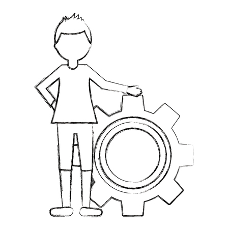 young man with gear avatar character vector illustration design