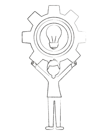 young man with gear and light bulb avatar character vector illustration design 版權商用圖片 - 103486292