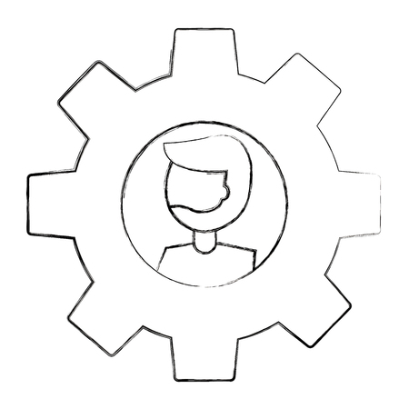 gear machine with head man isolated icon vector illustration design