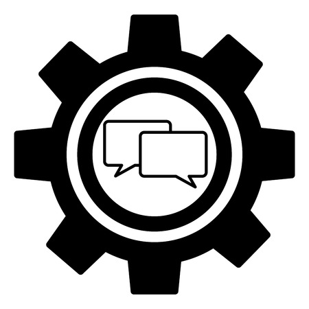 gear machine with speech bubble isolated icon vector illustration design