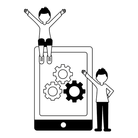tablet device with men and gears machine isolated icon vector illustration design Foto de archivo - 103486330
