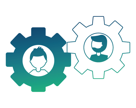 gears machine with heads of men isolated icon vector illustration design