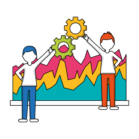 statistical graphics with young people isolated icon vector illustration design