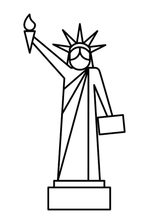 statue of liberty national american symbol vector illustration thin line