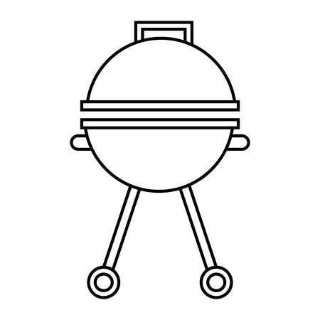 grill cooking equipment closed appliance vector illustration thin line Illustration