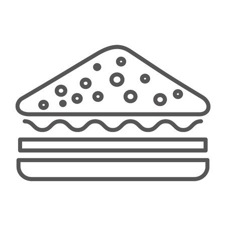 sandwich fast food image design vector illustration thin line Illustration