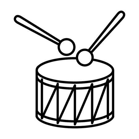 drum and sticks instrument musical vector illustration thin line
