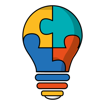 light bulb with puzzle pieces isolated icon vector illustration design