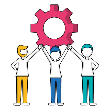 young men holding hands with gear machine isolated icon vector illustration design