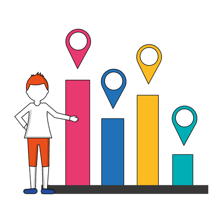 statistical graphics with man and pin location isolated icon vector illustration design Ilustração