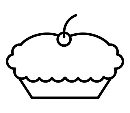 sweet cake with cherry dessert image vector illustration thin line