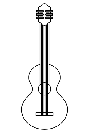 instrument musical guitar percussion image vector illustration thin line Illustration