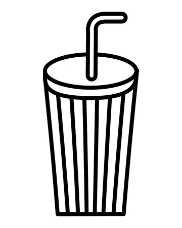disposable paper cup soda with straw vector illustration thin line Ilustração